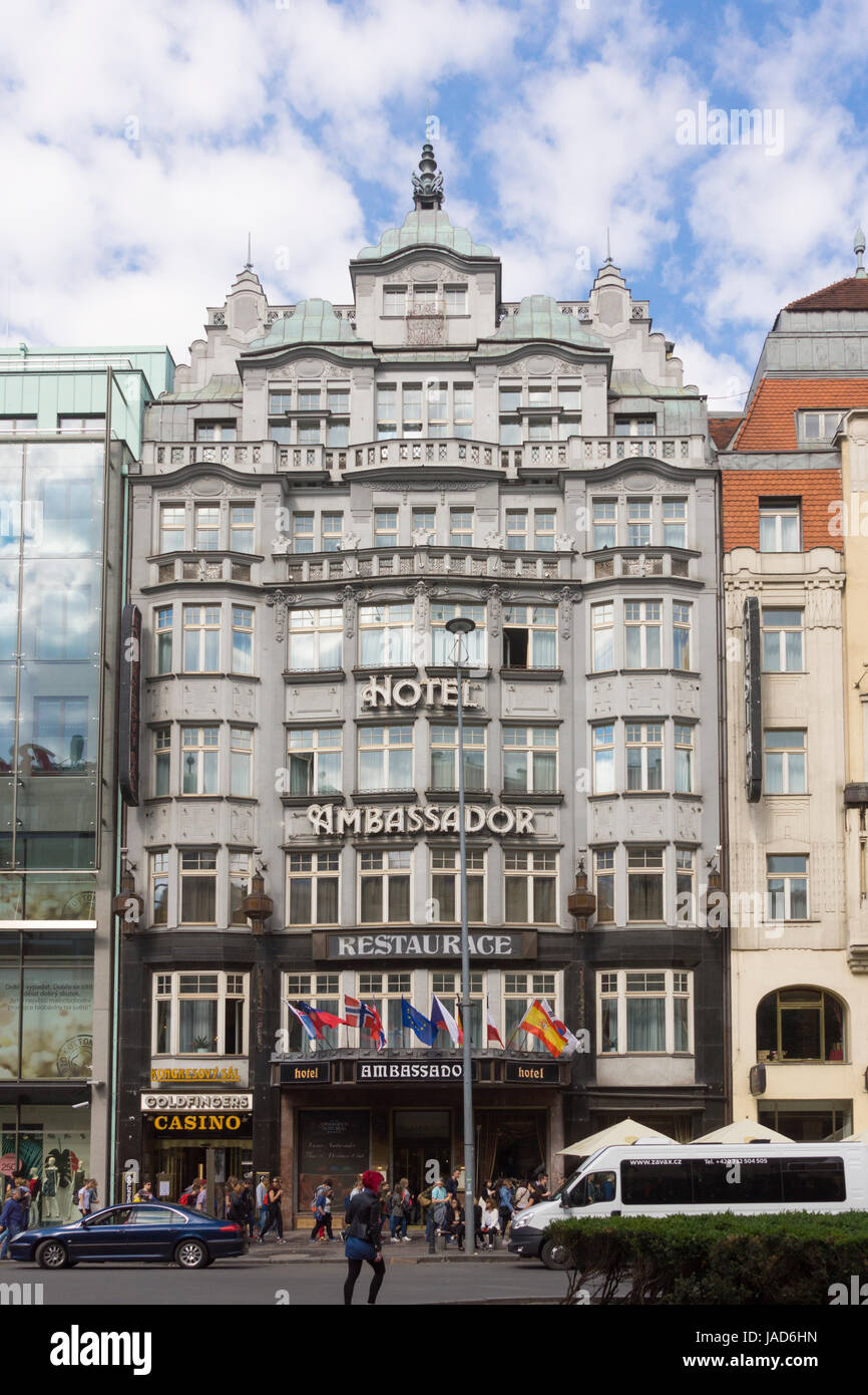 The Hotel Ambassador on Wenceslas Square in the heart of Prague, Czech Republic - Stock Image