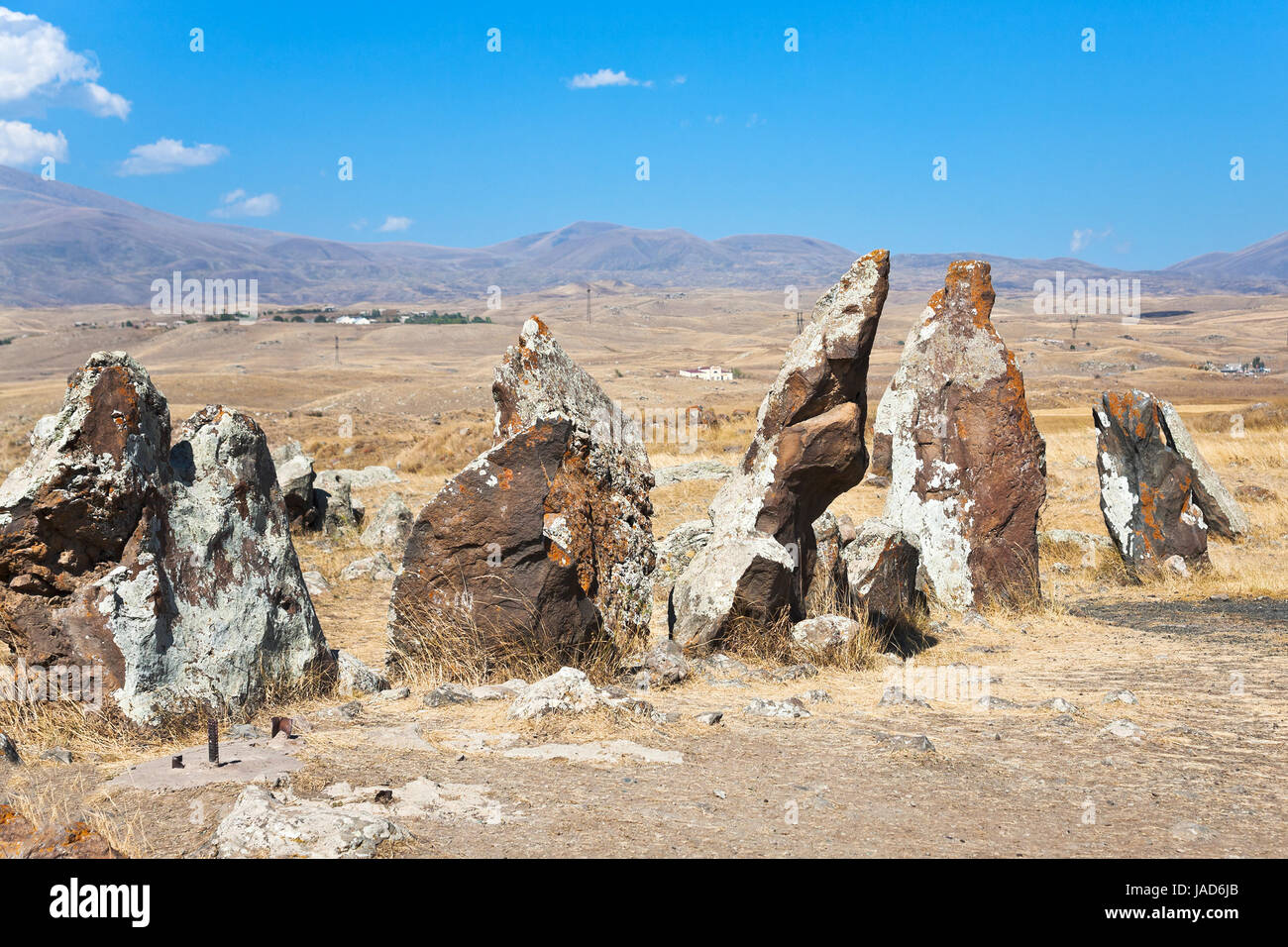 megalithic standing stone of Zorats Karer (Carahunge) - pre-history monument in Armenia Stock Photo
