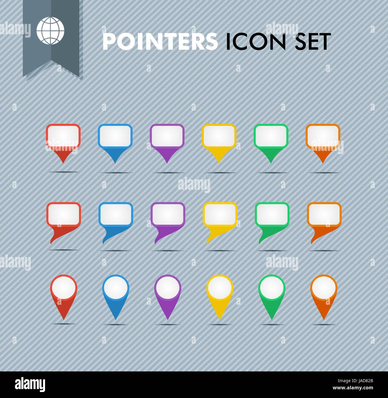 Colorful travel pointer and speech bubbles icon set  EPS10
