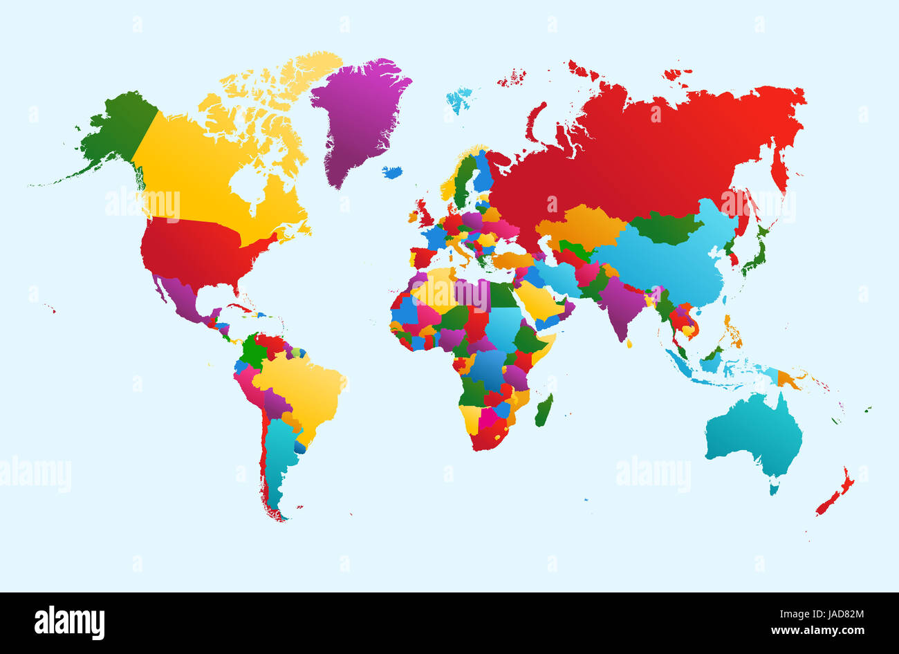 World map, colorful countries Atlas illustration. - Stock Image