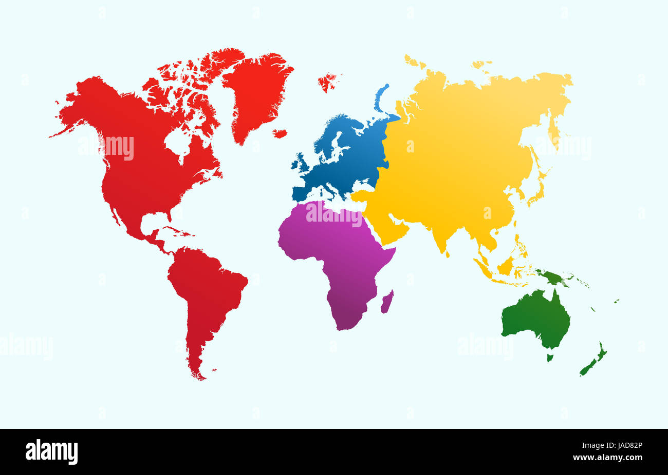 World map, colorful continents Atlas illustration. EPS10 vector file organized in layersa for easy editing. - Stock Image