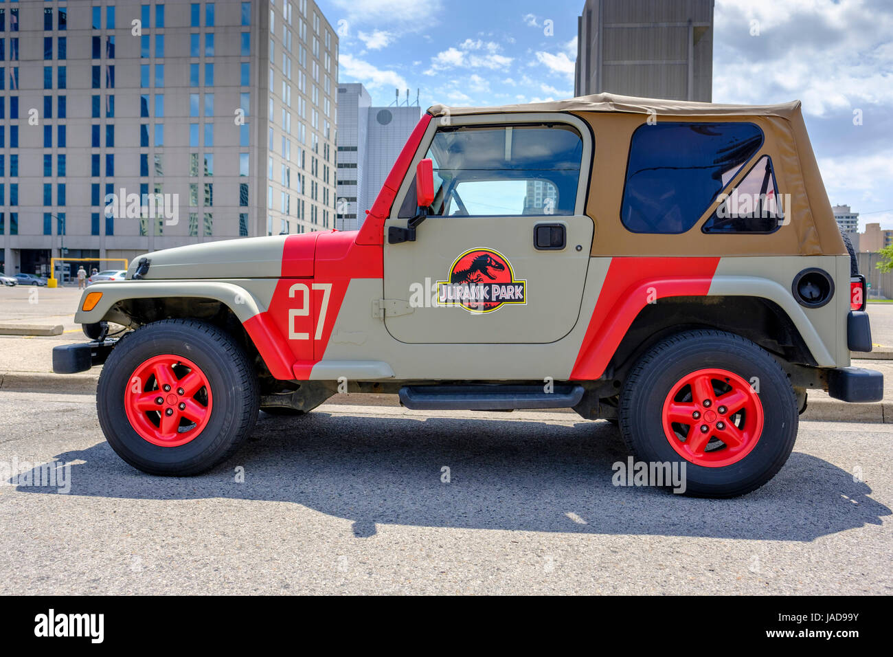 Finest Custom painted Jurassic Park Jeep, Jurassic Park logo, 4x4 vehicle  LK65