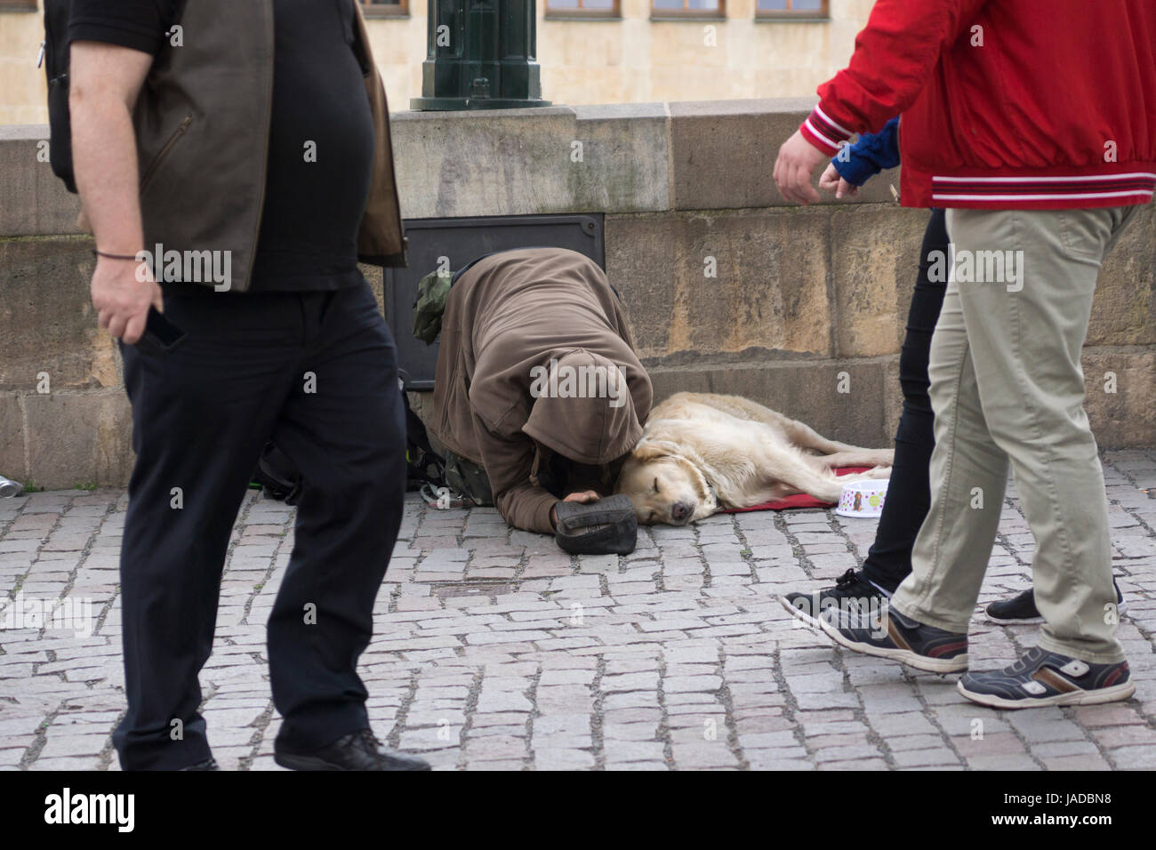 People walking past a beggar and his dog in Prague, Czech Republic - Stock Image