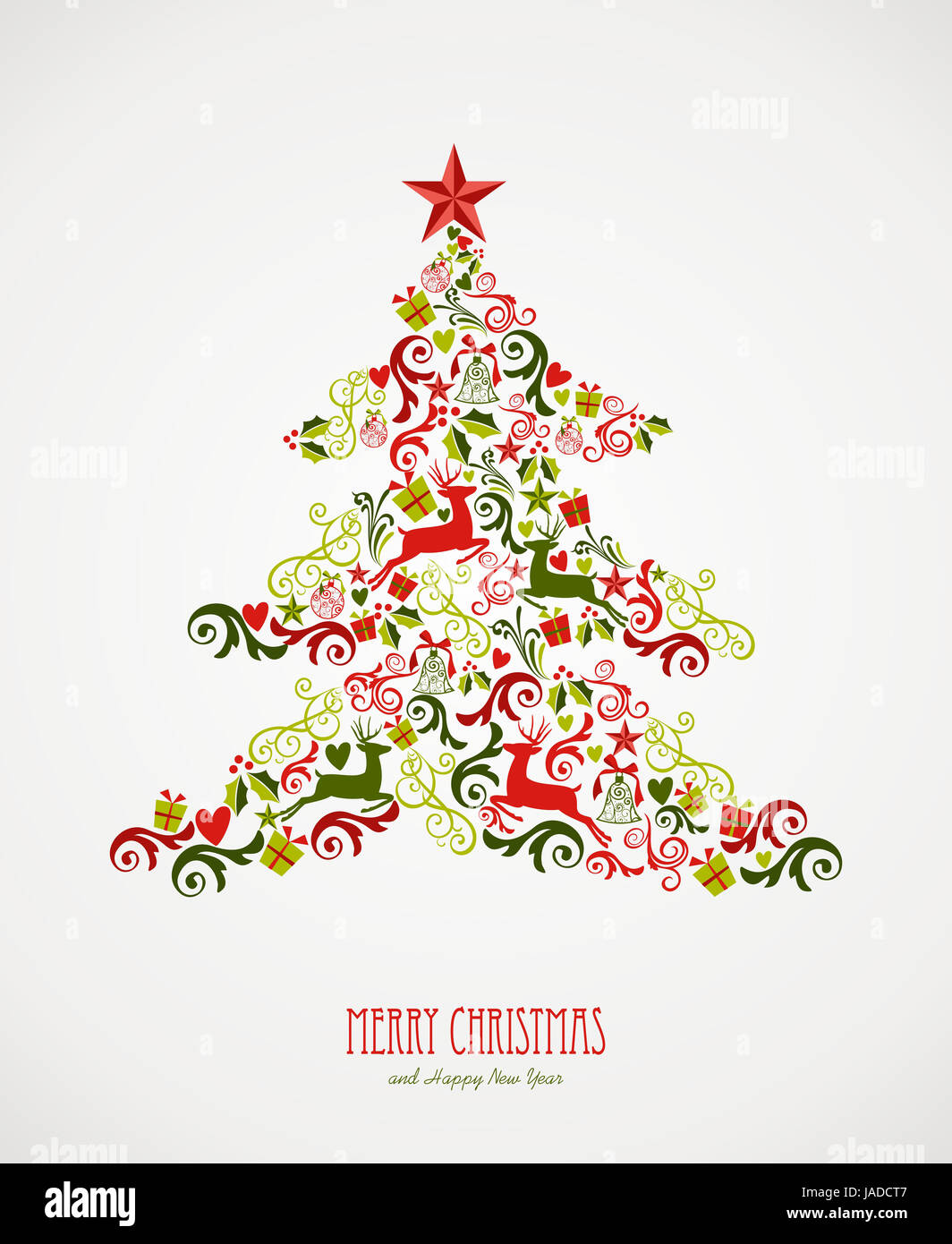 Merry Christmas tree decoration elements composition. Vector file ...