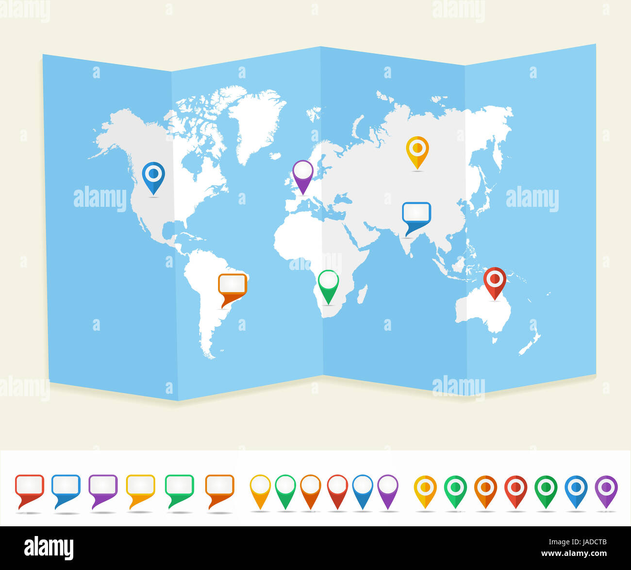 World map with GPS location pins and social media speech bubbles travel Earth brochure. EPS10 vector file organized - Stock Image