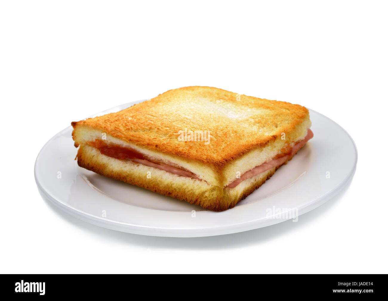 Sanwich ham&cheese on white plate Stock Photo