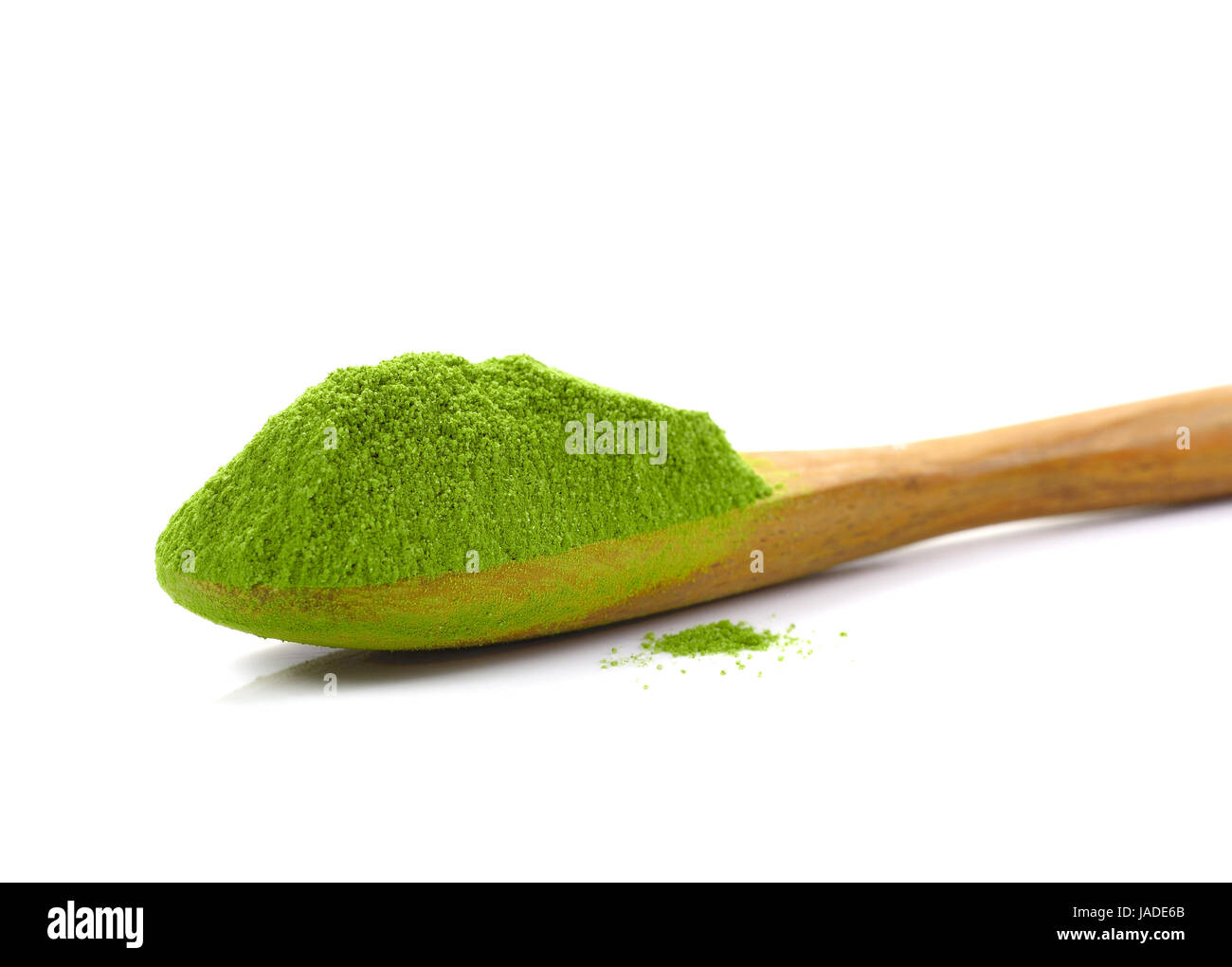 matcha, powder green tea with bamboo spoon isolated on white Stock ...