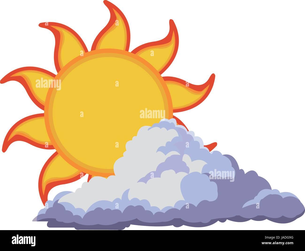 sun summer weather heat icon - Stock Vector