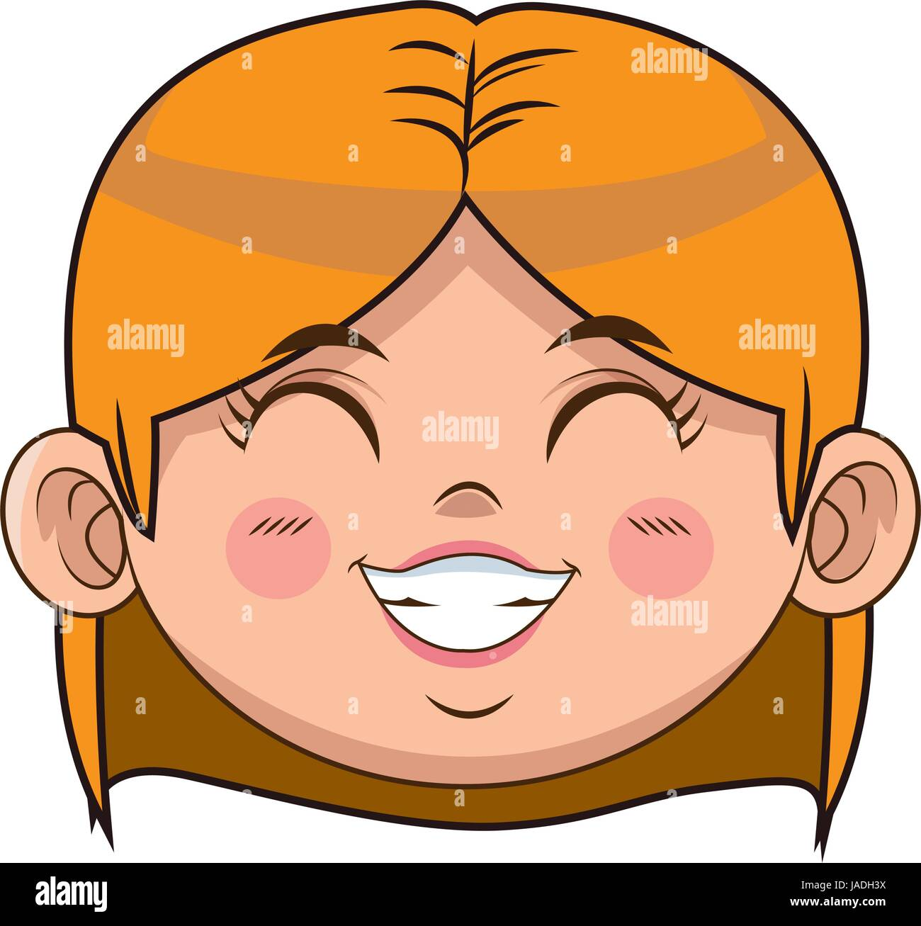 cute cartoon girl laugh face expression vector illustration stock