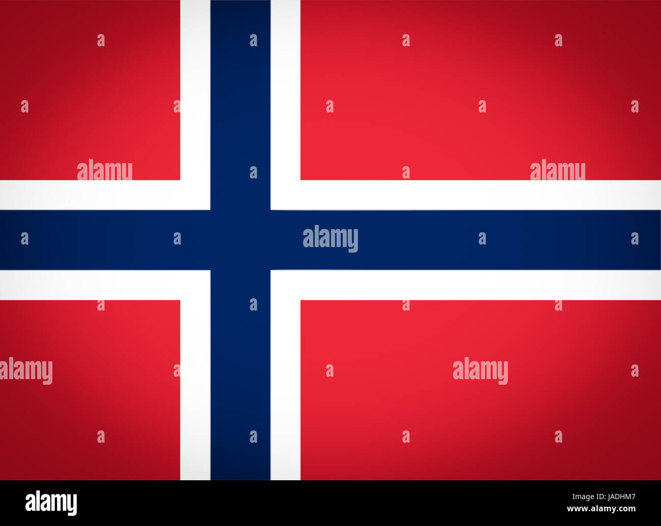 Norwegian flag of Norway - Proportions: 22:16 - Colours: Red 032 U, Blue 281 U, White vignetted - Stock Image