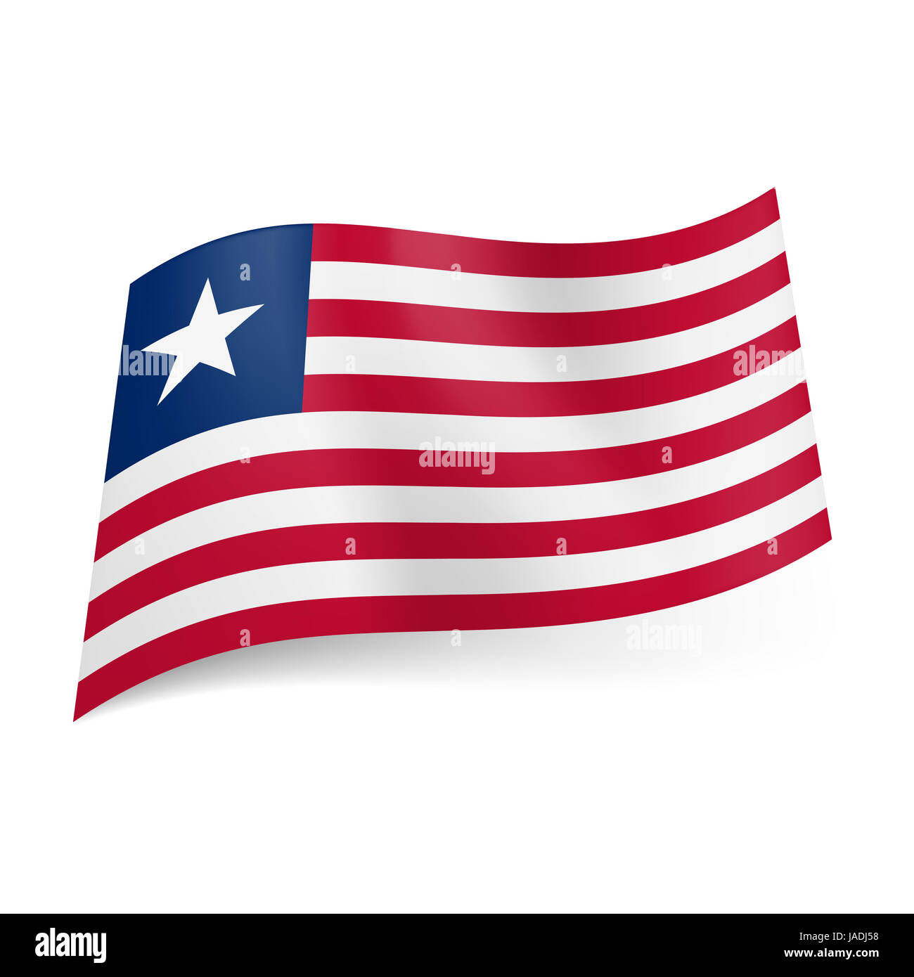 National flag of Liberia: red and white horizontal stripes ...