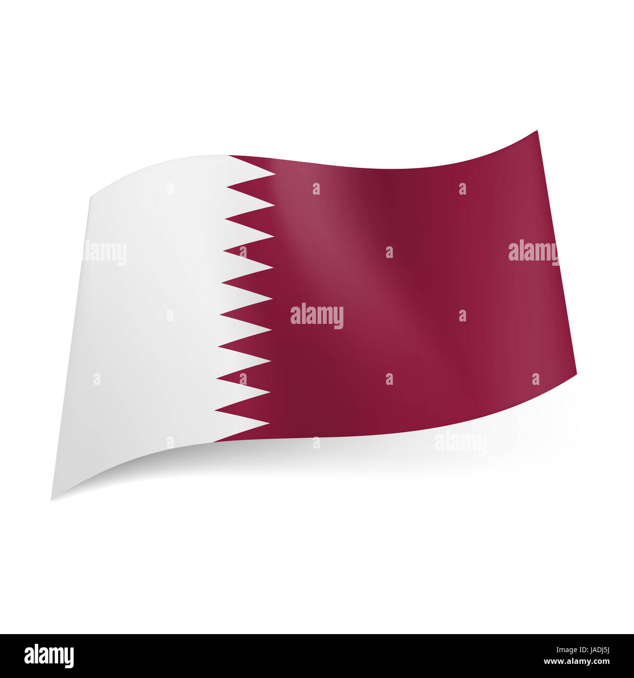 National flag of Qatar: white and maroon bands with serrated pattern. - Stock Image