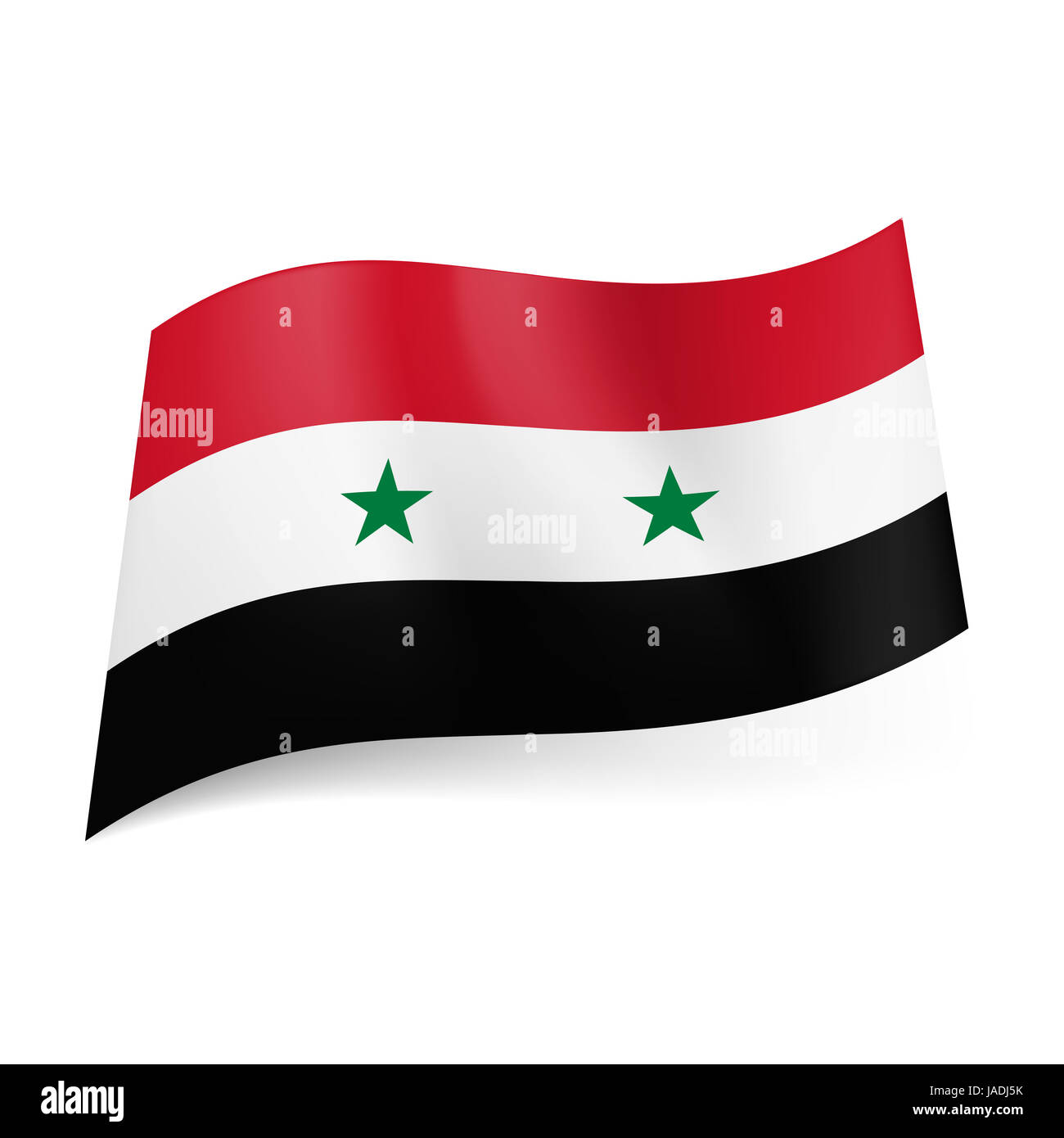 National Flag Of Syria Red White And Black Horizontal Stripes With