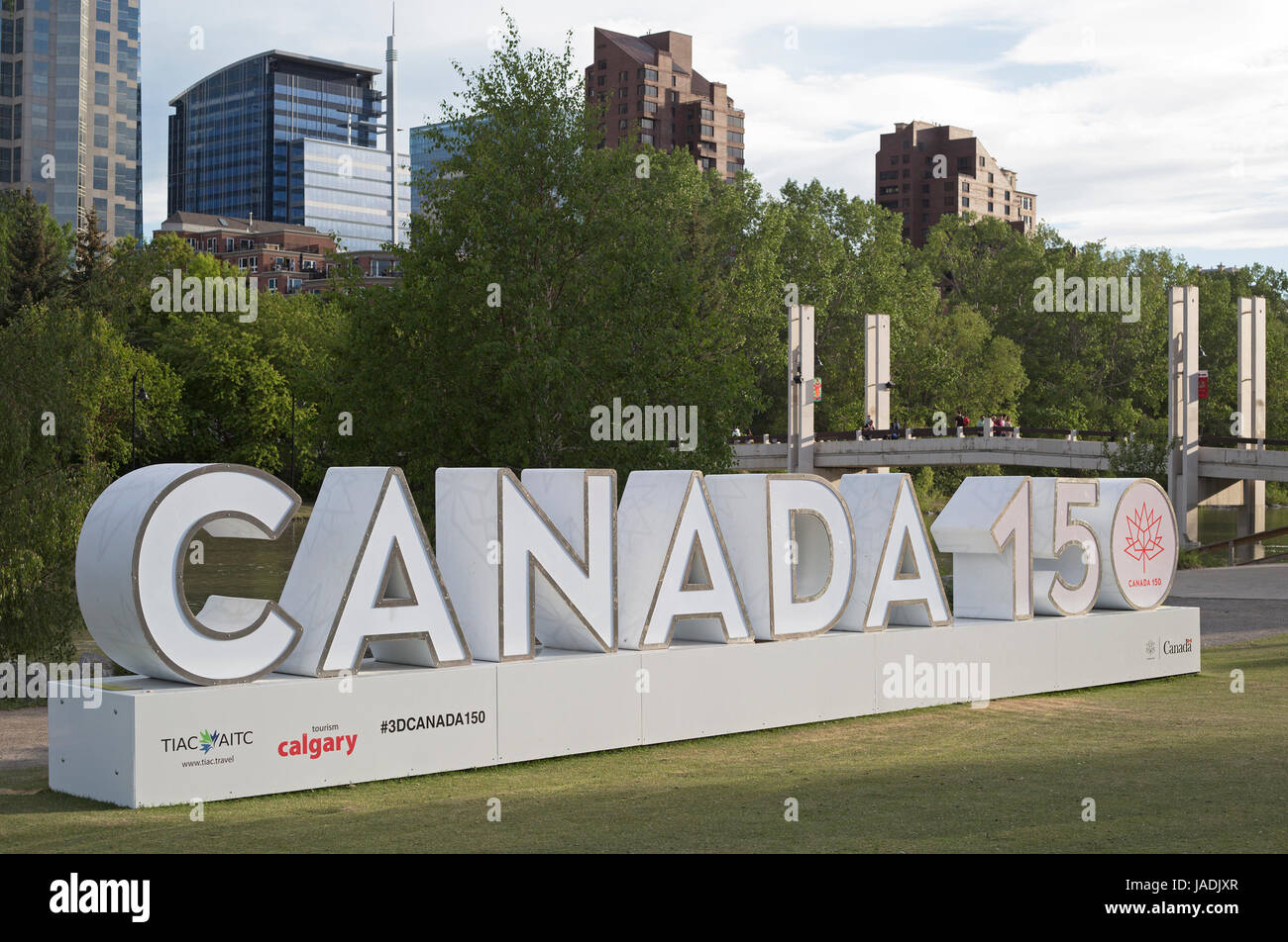 Canada 150 three dimensional sign celebrating the country's 150th anniversary since Confederation, on Prince's - Stock Image
