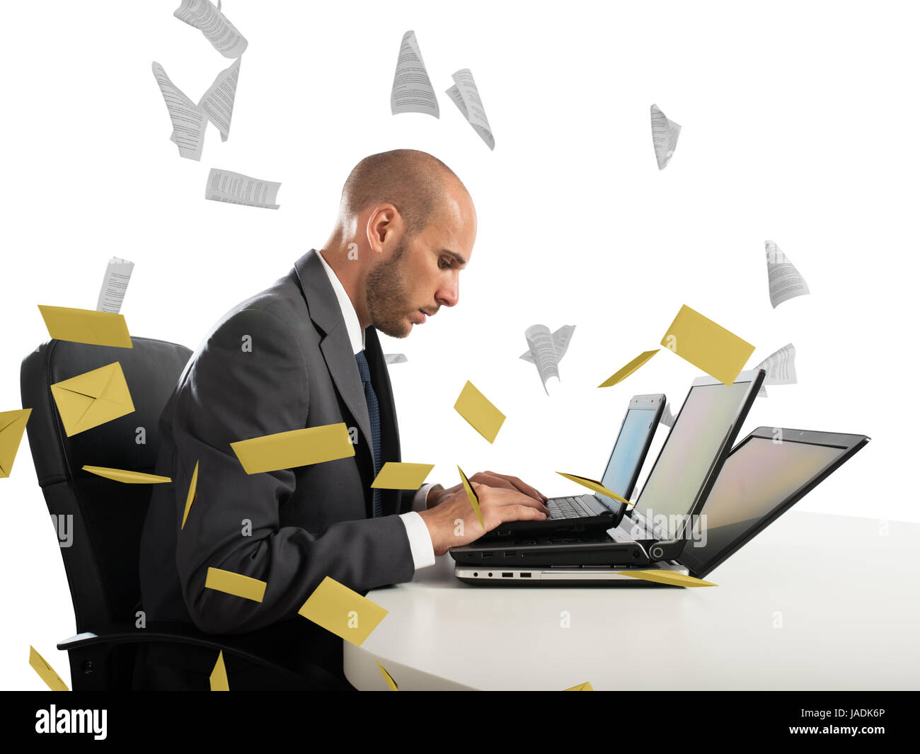 Despair and stress for spam e-mail - Stock Image