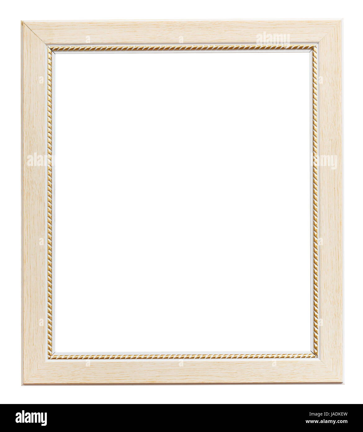 white flat vertical picture frame with cutout canvas isolated on ...