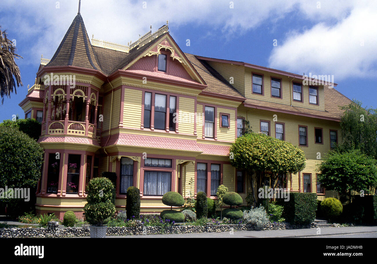 Classic Victorian Architecture House In Ferndale Ca Stock