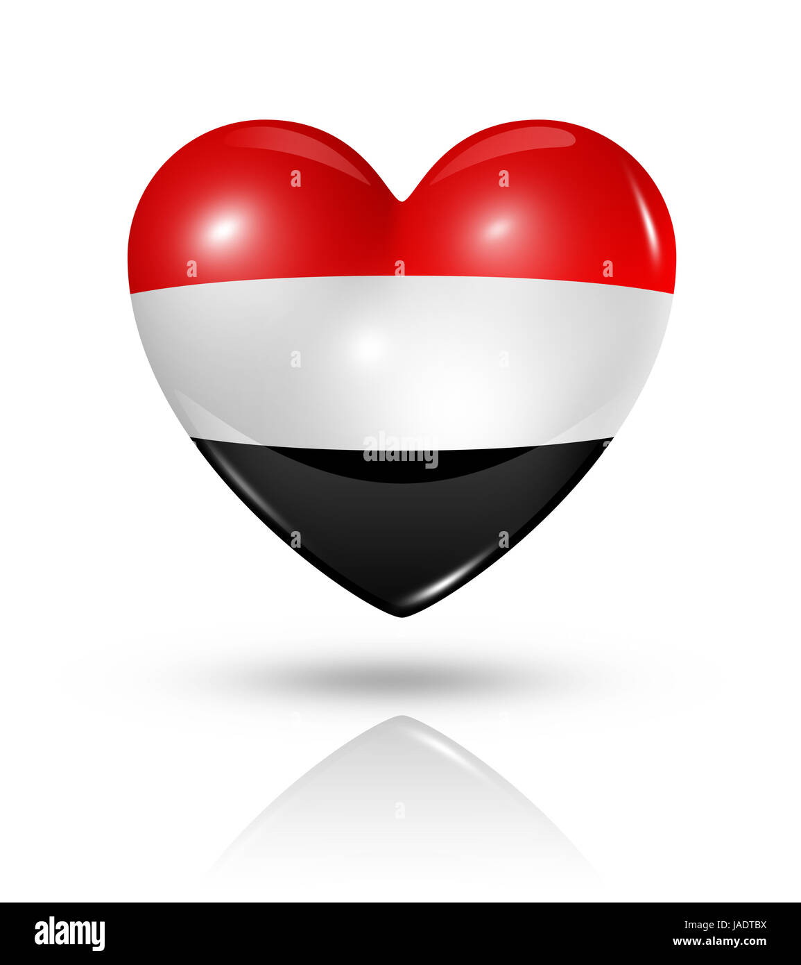 Love Yemen symbol. 3D heart flag icon isolated on white with clipping path Stock Photo