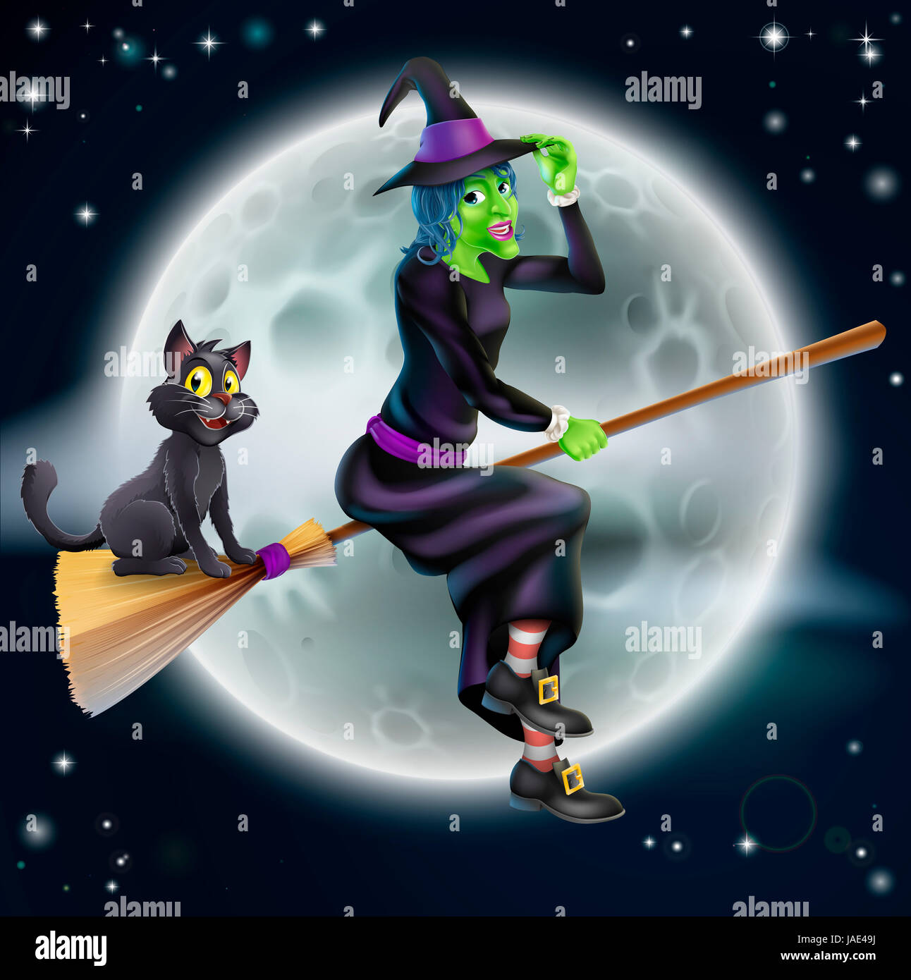 A Halloween illustration of a green witch flying on her broom with her cat in front of a star lit night sky with Stock Photo