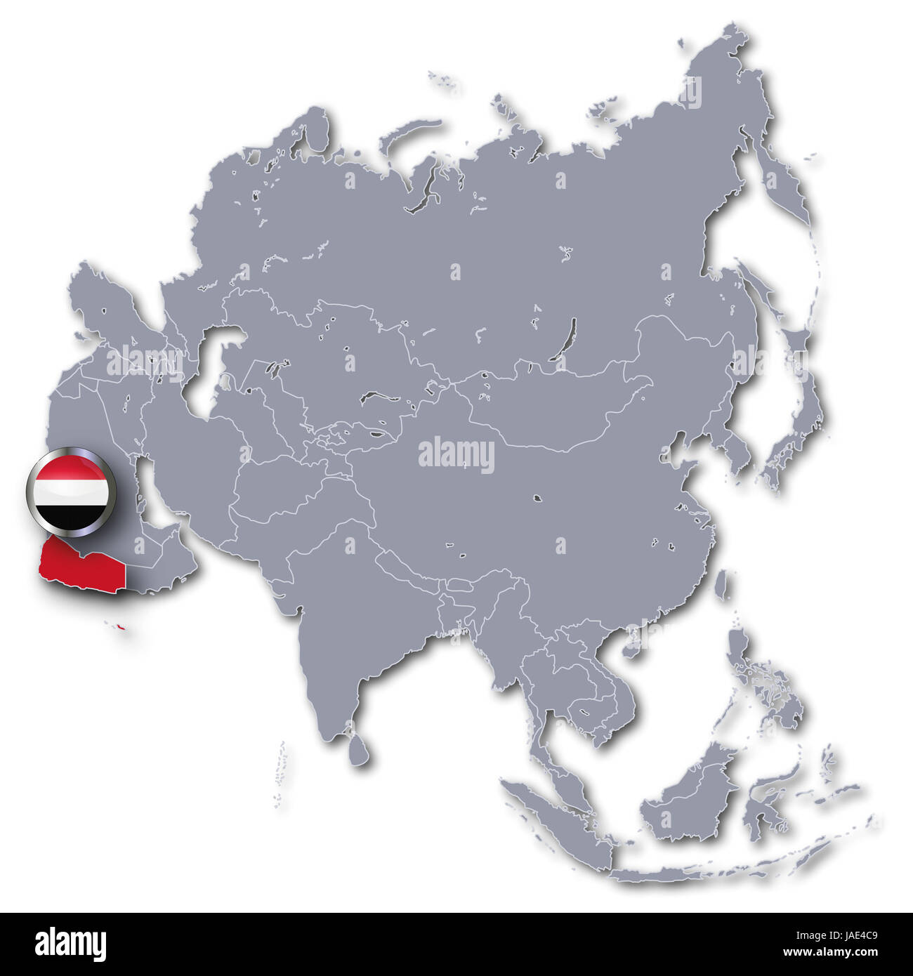 asia map with yemen - Stock Image