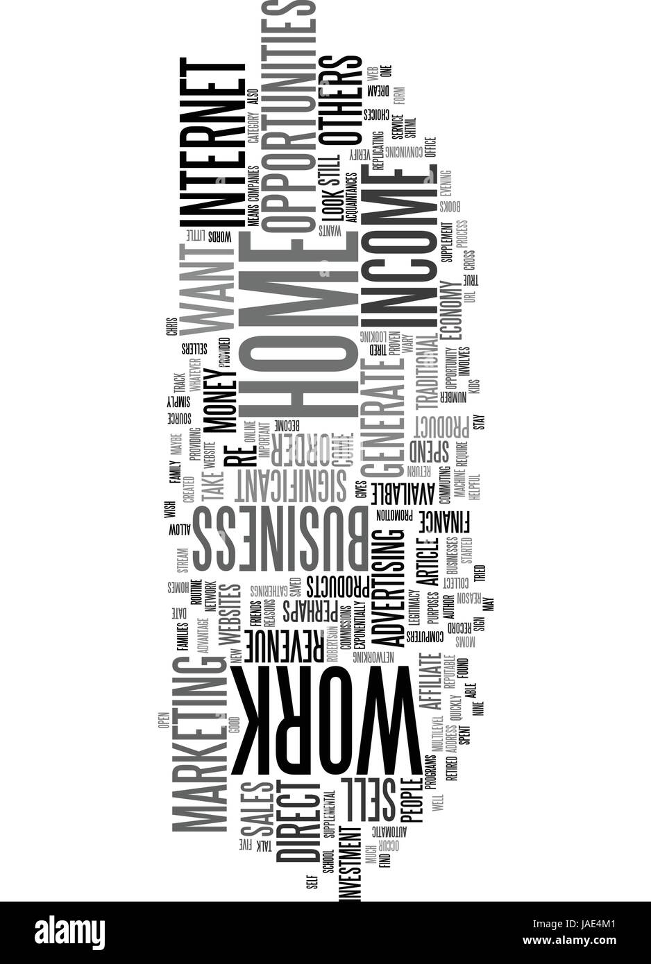 WORK AT HOME INCOME OPPORTUNITIES TEXT WORD CLOUD CONCEPT - Stock Vector