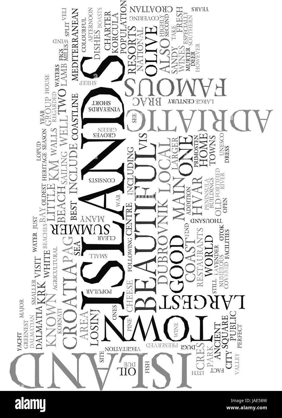 YACHT CHARTER IN CROATIA TEXT WORD CLOUD CONCEPT - Stock Image
