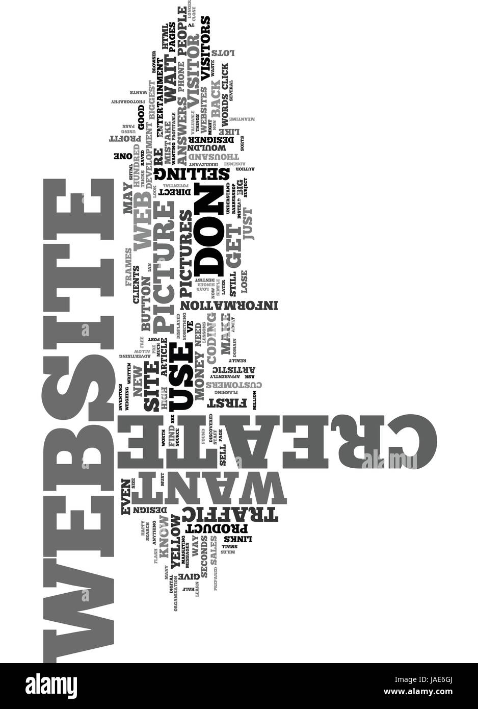YOUR BIGGEST MISTAKE WHEN YOU CREATE A WEBSITE TEXT WORD CLOUD CONCEPT - Stock Vector