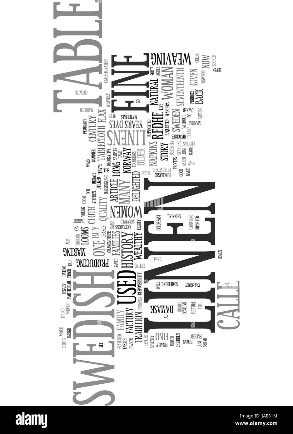 A BRIEF HISTORY OF FINE SWEDISH TABLE LINEN TEXT WORD CLOUD CONCEPT - Stock Vector