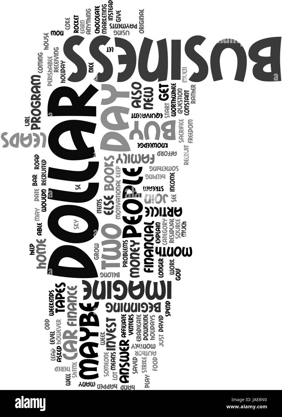 A DOLLAR A DAY TEXT WORD CLOUD CONCEPT - Stock Vector