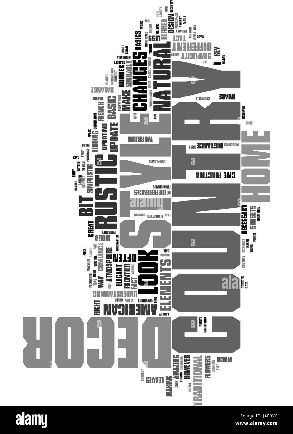 A NEW LOOK AT COUNTRY STYLE HOME DECOR TEXT WORD CLOUD CONCEPT Stock Vector