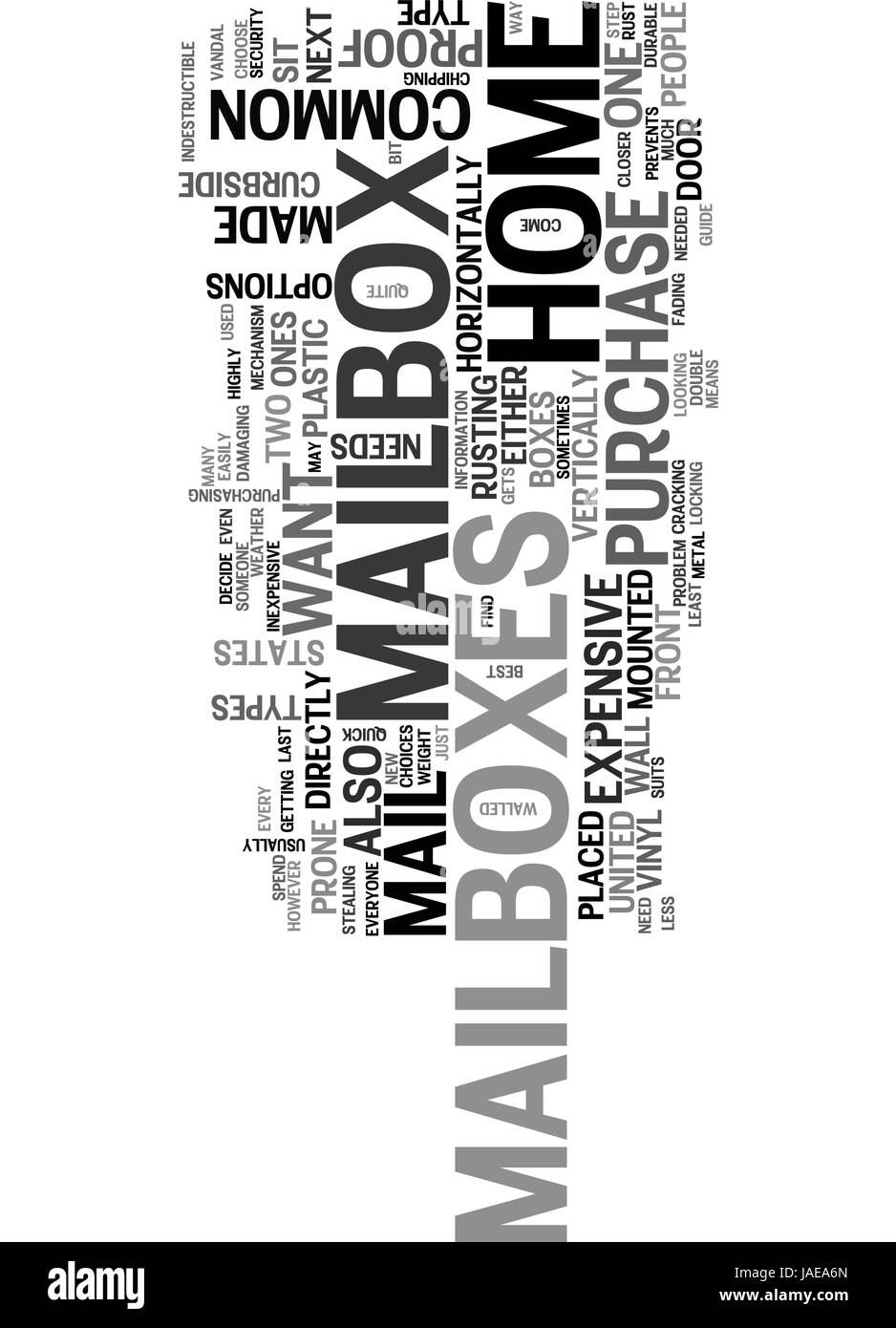 A QUICK GUIDE TO HOME MAILBOXES TEXT WORD CLOUD CONCEPT Stock Vector