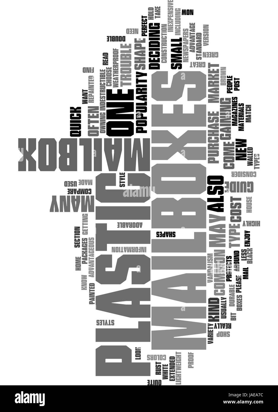 A QUICK GUIDE TO PLASTIC MAILBOXES TEXT WORD CLOUD CONCEPT Stock Vector