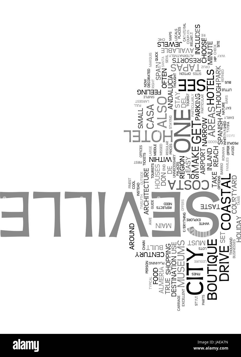 A QUICK GUIDE TO SEVILLE TEXT WORD CLOUD CONCEPT - Stock Vector