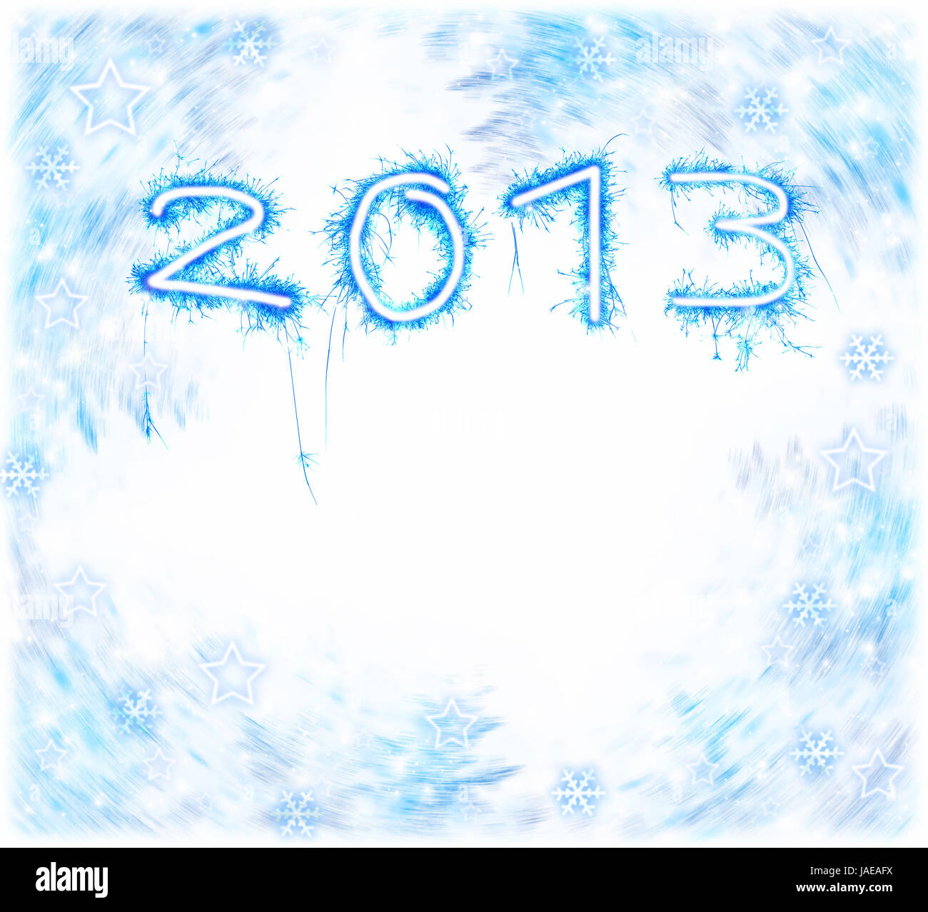 Image of New Year festive frostwork, abstract holiday background, beautiful blue digits on white background, 2013 - Stock Image
