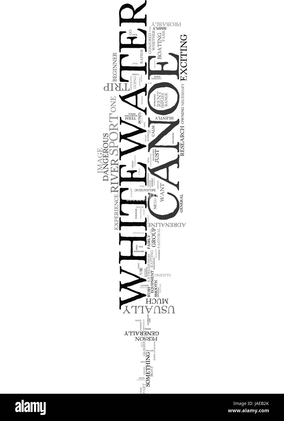 A WHITEWATER CANOE BUY OR RENT TEXT WORD CLOUD CONCEPT - Stock Image