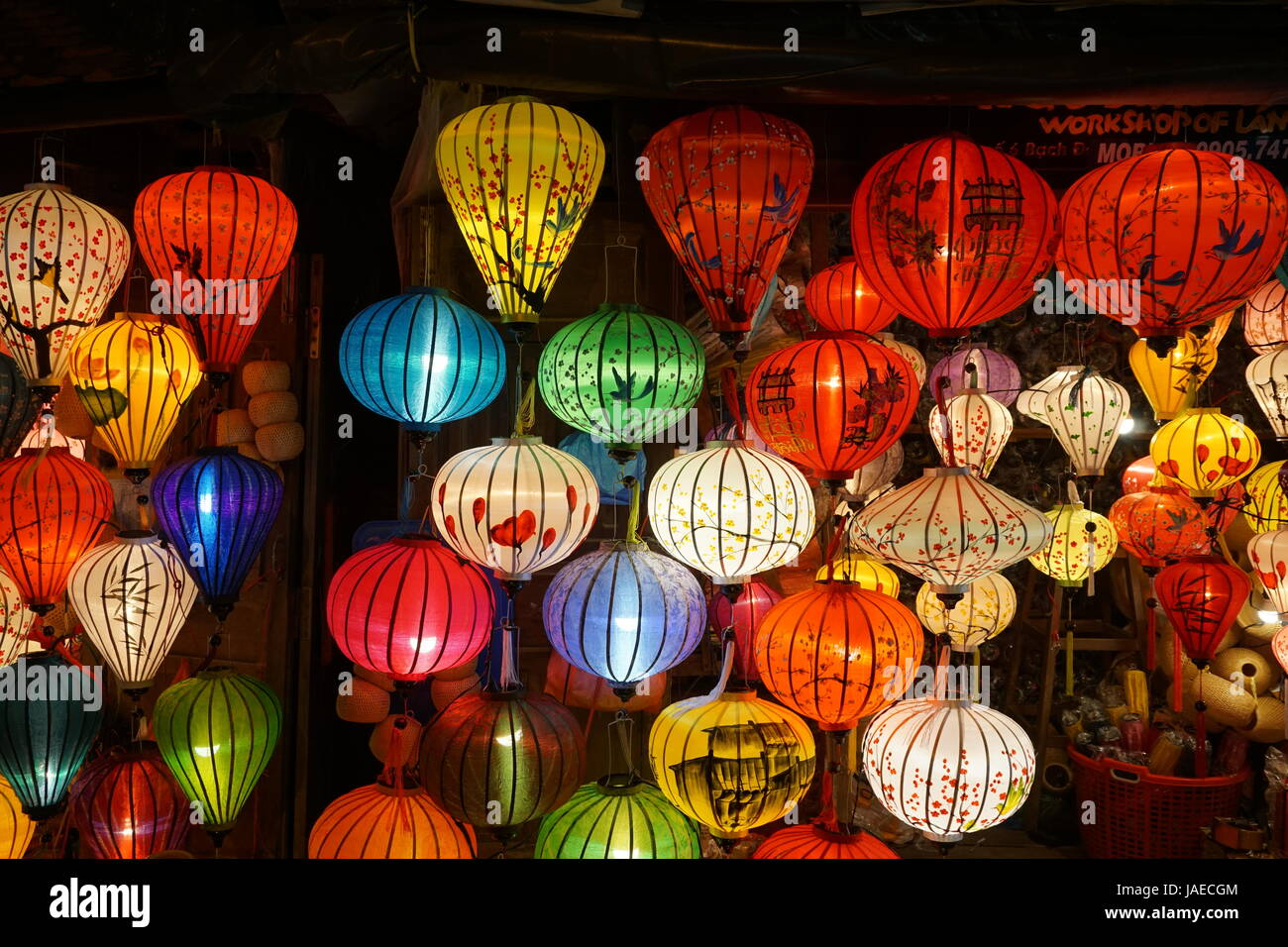 Lanterns shining everywhere in Hoi An's old town at night. - Stock Image