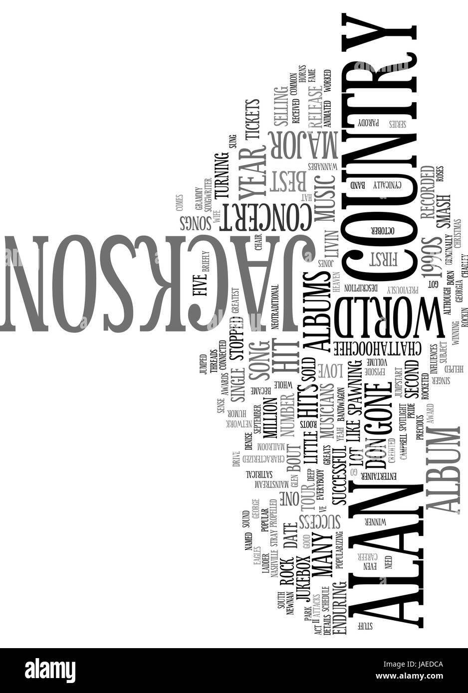ALAN JACKSON CONCERT DETAILS TEXT WORD CLOUD CONCEPT - Stock Vector