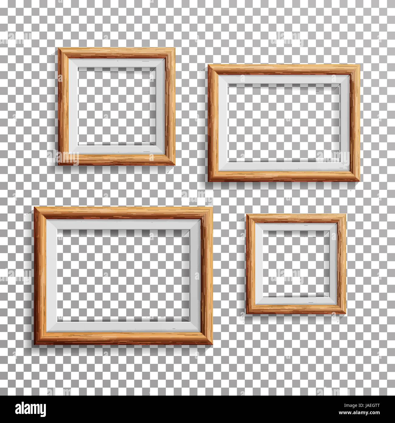 Realistic Photo Frame Vector  Set Square, A3, A4 Sizes Light