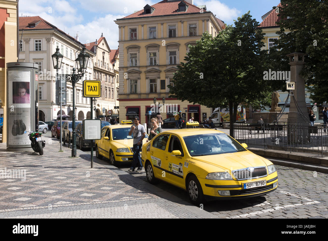 A taxi stand in Prague Old Town, Czech Republic - Stock Image