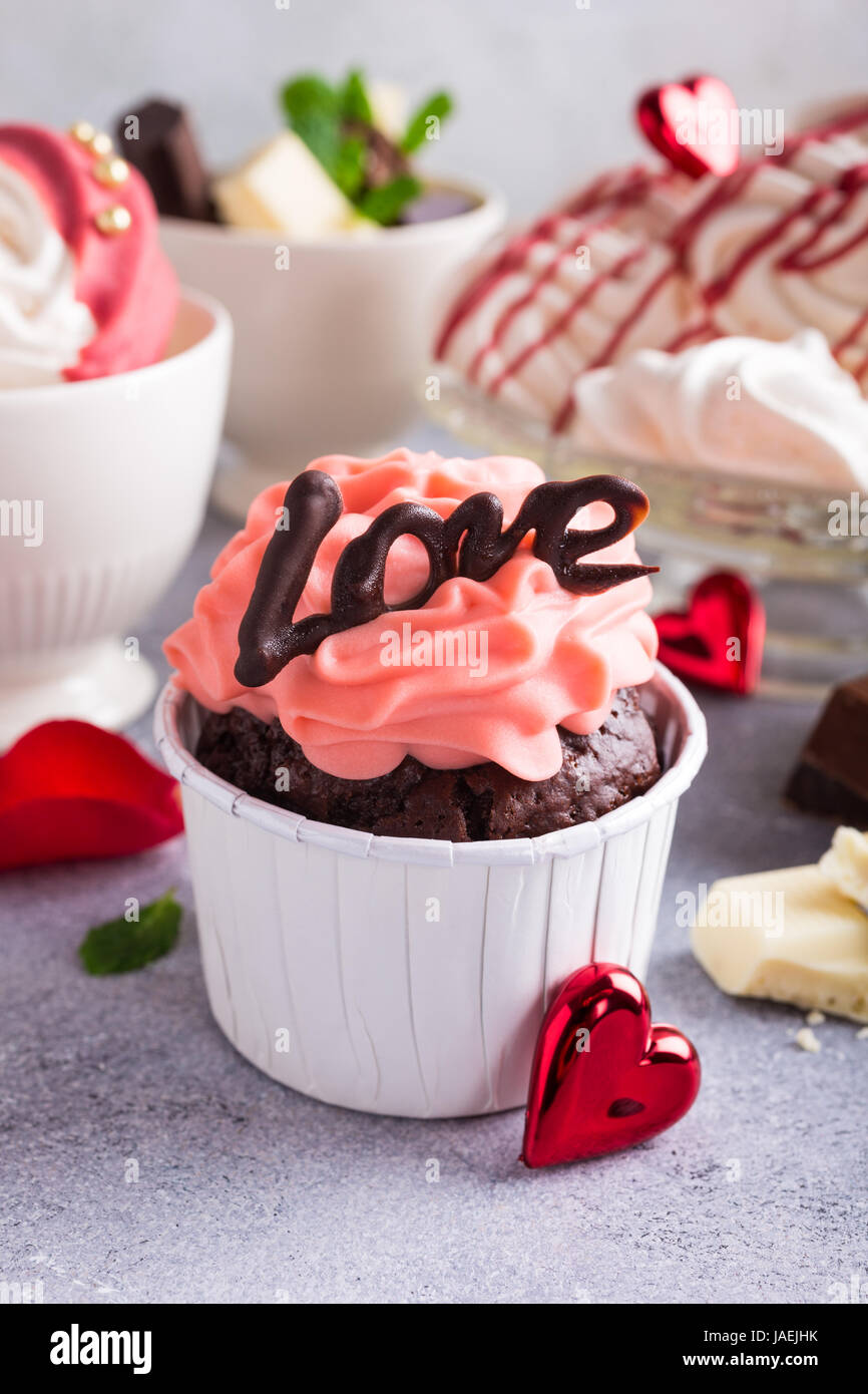 Beautiful Chocolate Cupcake Pink Cream Meringue Cookies And Red