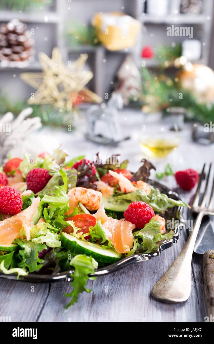 Fresh salad with smoked salmon - Stock Image