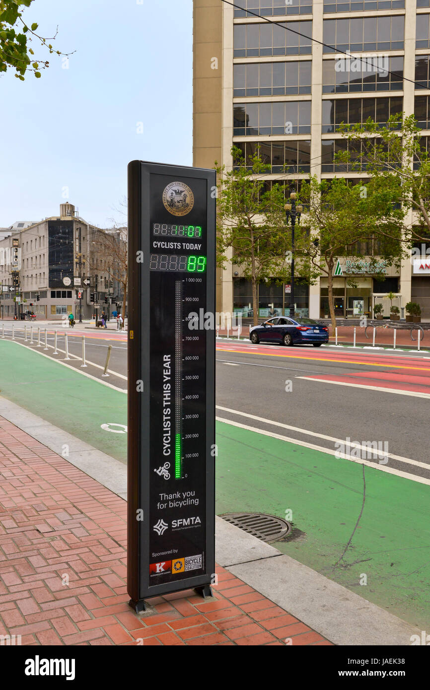 San Francisco, Bicycling meter, Promoting bicycling in the city and safety - Stock Image