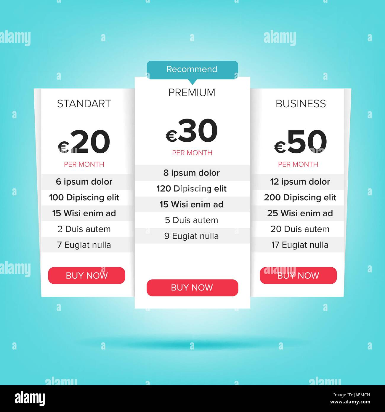 pricing business plans vector pricing plans template chart table pricing plan template recommend with price web banner