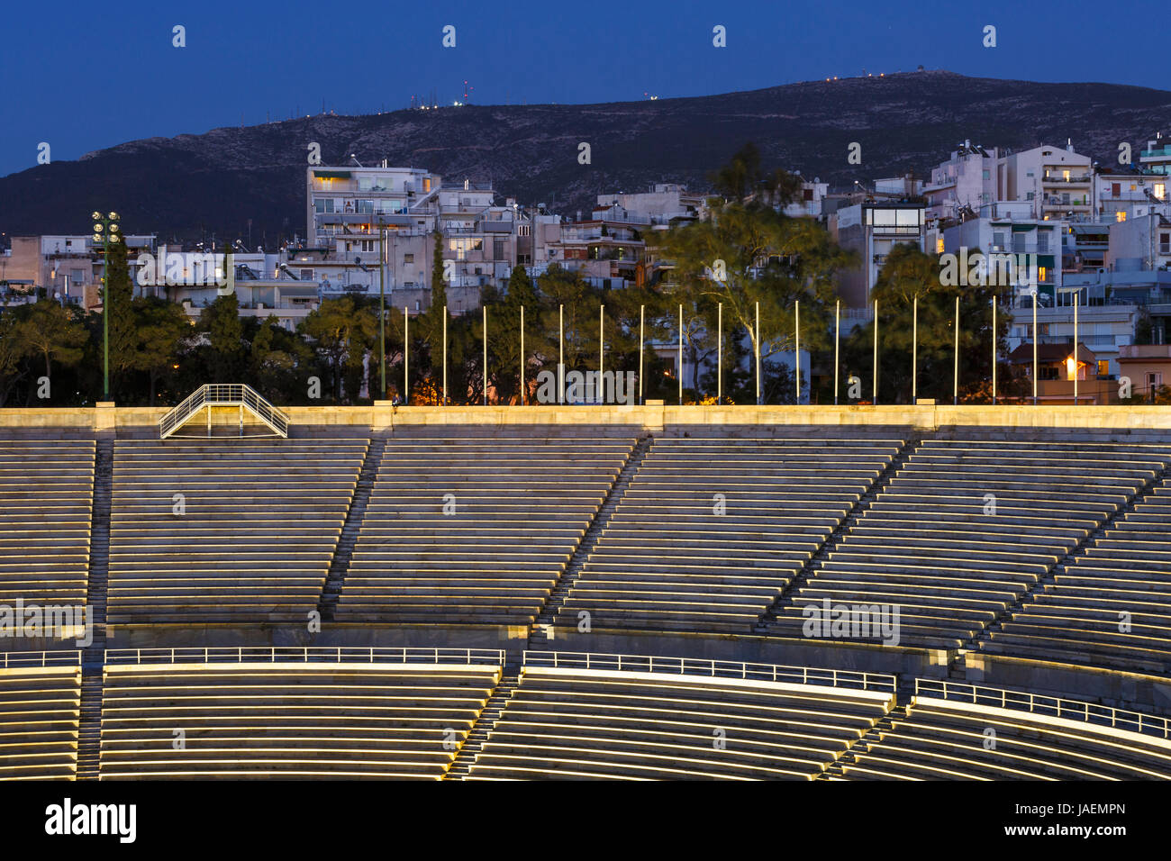 First Olympic stadium in Athens and one of the Athenian neighbourhoods, Greece. - Stock Image