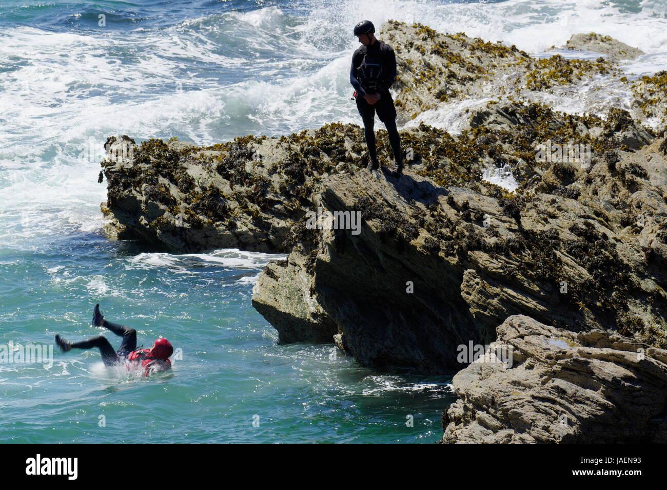 Coasteering  Porth Dafarch - Stock Image