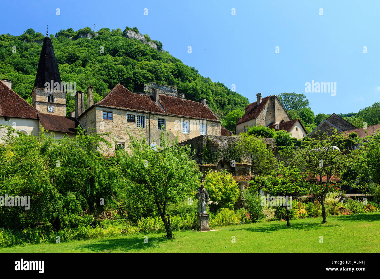 France, Jura, Baume les Messieurs, labelled Les Plus Beaux Villages de France (The Most beautiful Villages of France) - Stock Image