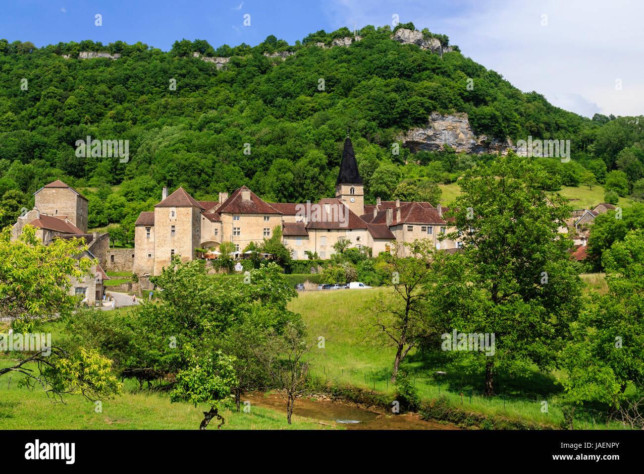 France, Jura, Baume les Messieurs, labelled Les Plus Beaux Villages de France (The Most beautiful Villages of France), Stock Photo