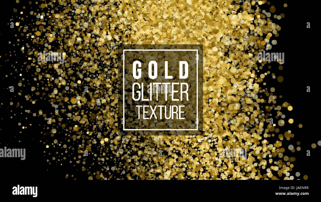 2f566b071b8 Gold Glitter Texture On A Black Background. Holiday Background. Golden  Explosion Of Confetti.
