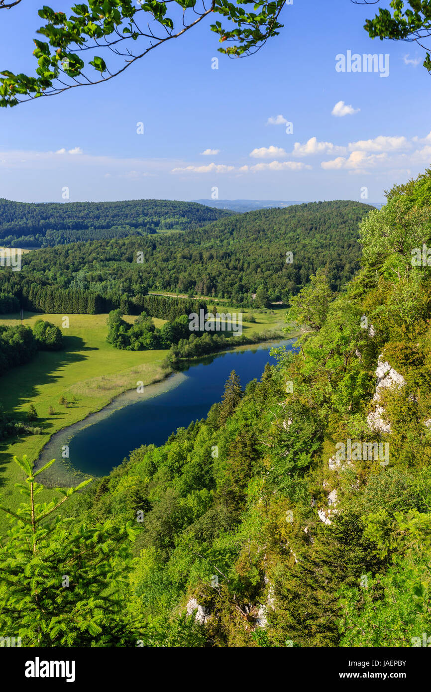 France, Jura, Chaux du Dombief, view from the Belvedere of the Quatre Lacs, here the Petit Maclu - Stock Image