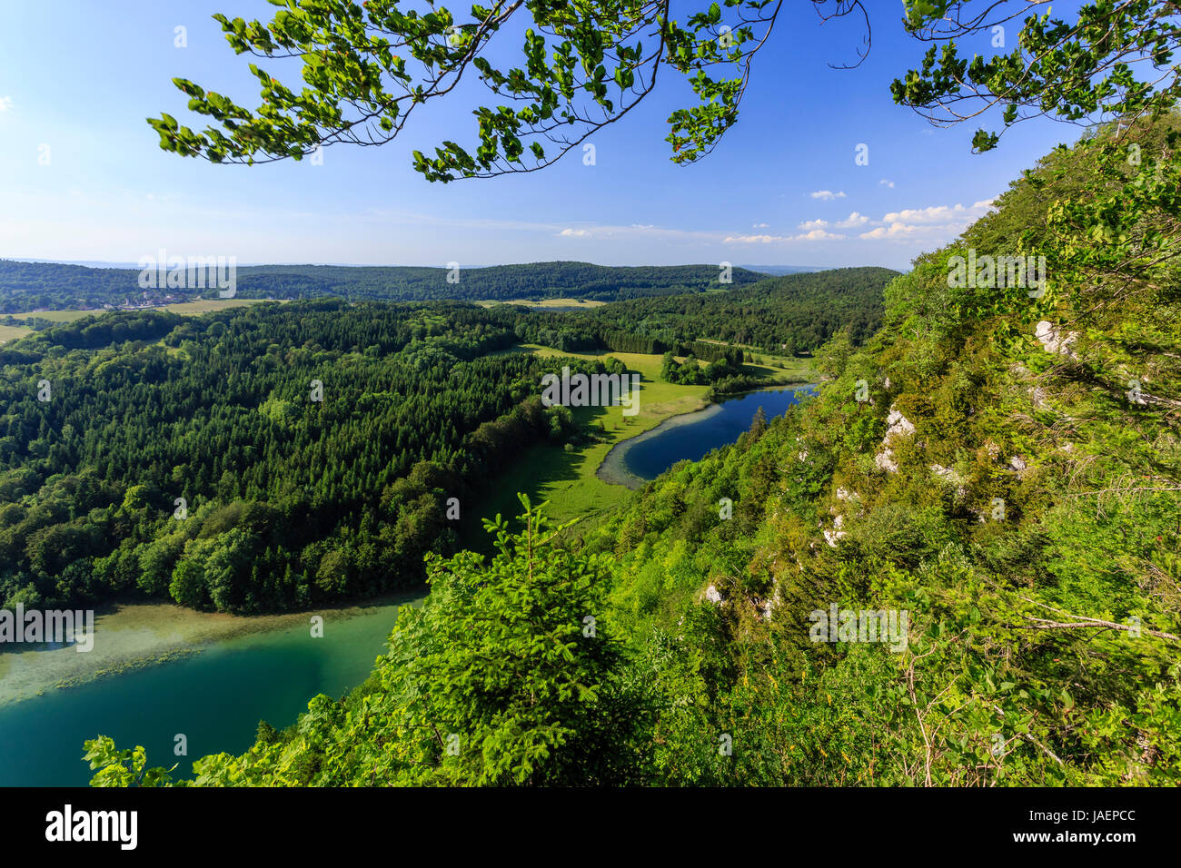 France, Jura, Chaux du Dombief, view from the Belvedere of the Quatre Lacs, here the Petit Maclu and the Grand Maclu - Stock Image
